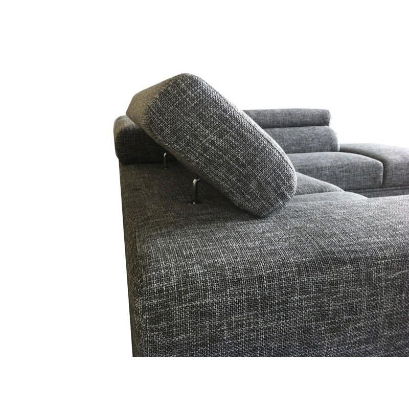 Canap d 39 angle c t droit design 5 places avec m ridienne Canape angle gris chine