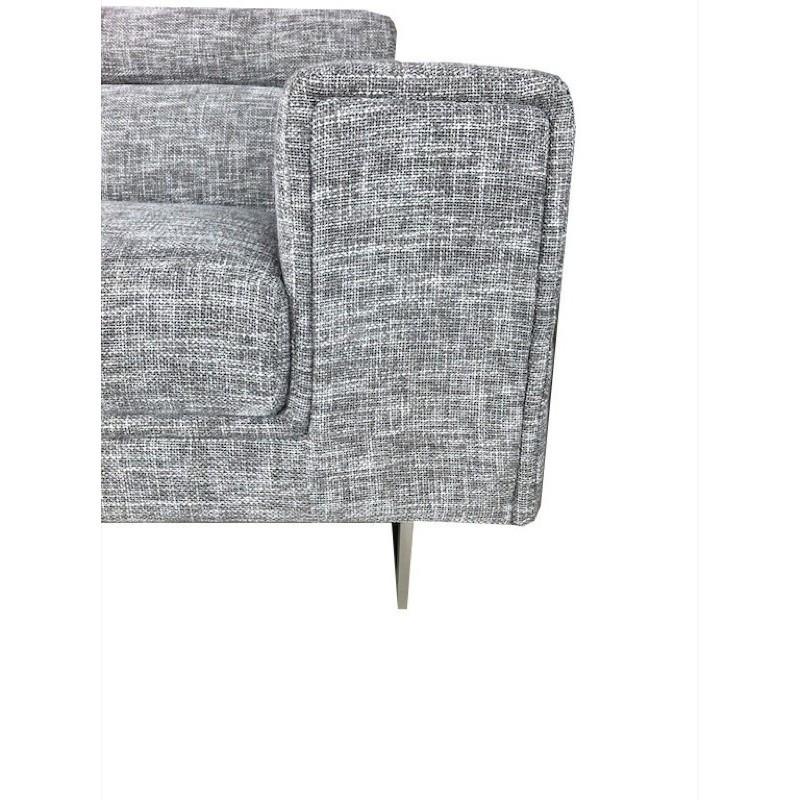Canapé d'angle côté Gauche design 5 places avec méridienne MATHIS en tissu (gris clair chiné) - image 30185