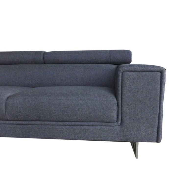 Canapé d'angle Droit design 5 places avec méridienne MATHIS en tissu (gris foncé) - image 30189