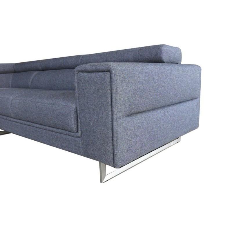 Canapé d'angle côté Gauche design 5 places avec méridienne MATHIS en tissu (gris foncé) - image 30196
