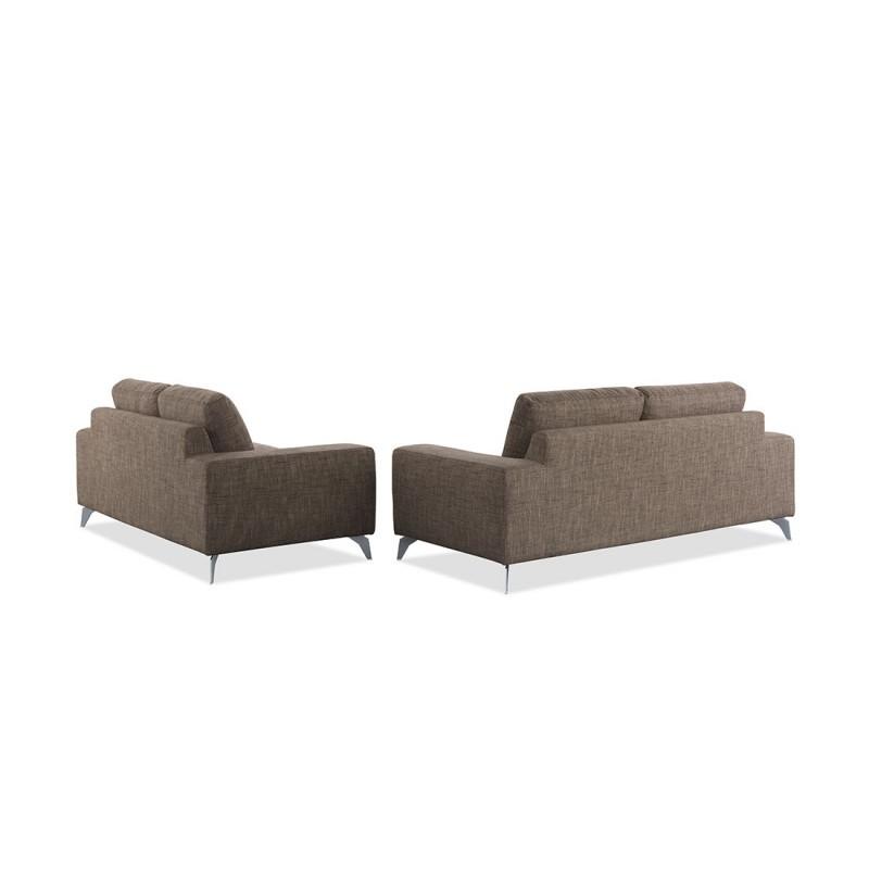 Canapé droit design 2 places ALBERT en tissu (marron) - image 30201