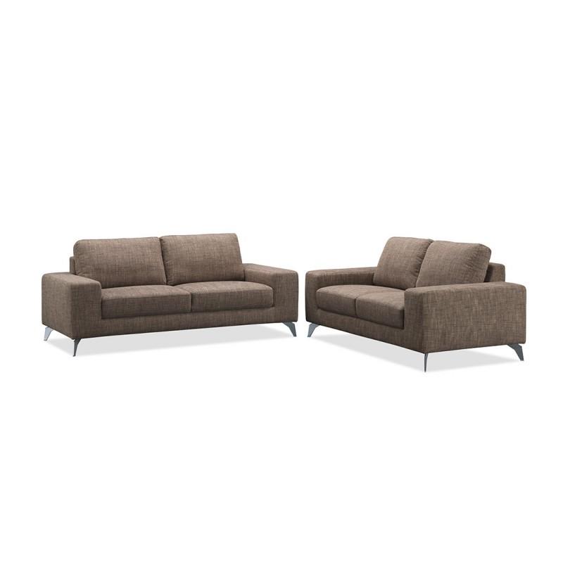 Canapé droit design 2 places ALBERT en tissu (marron)