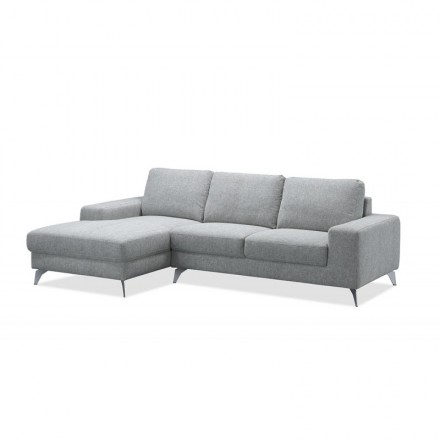 Ecke Sofa Design links 3 Plätze mit THEO Chaise in Stoff (hellgrau)