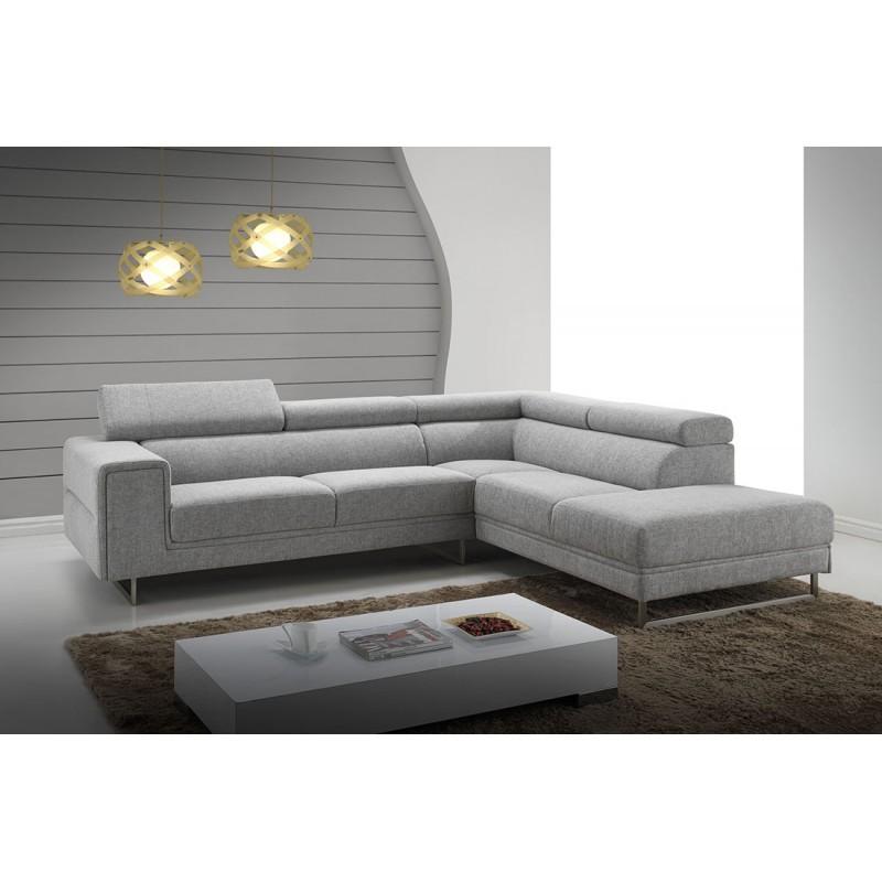 Canapé d'angle côté Droit design 5 places avec méridienne MATHIS en tissu (gris clair) - image 30215