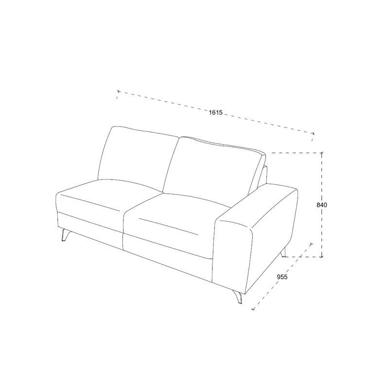 Canapé d'angle côté Droit design 3 places avec méridienne THEO en tissu (gris foncé) - image 30223