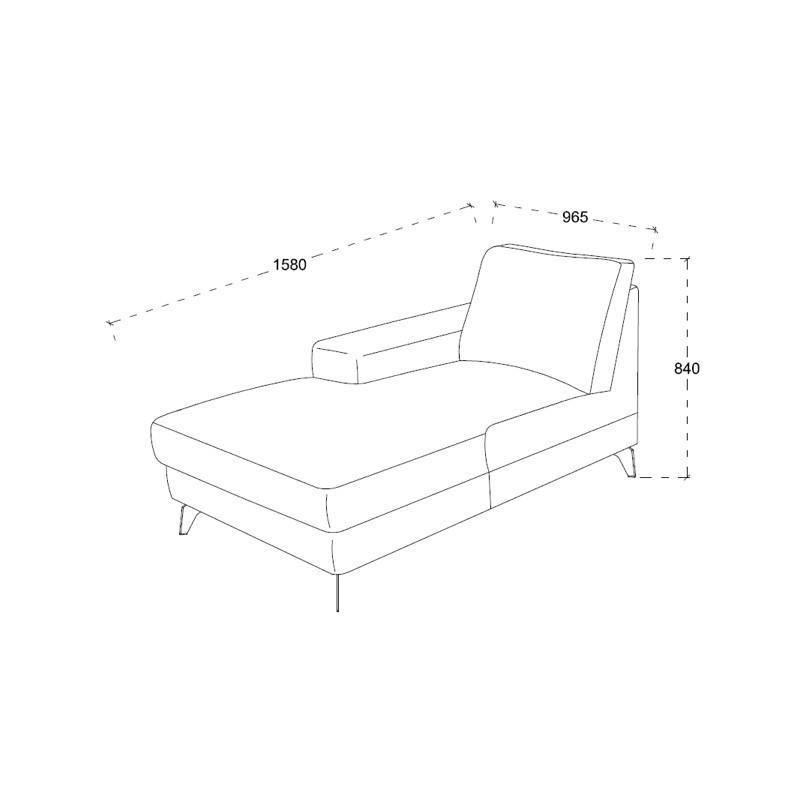 Canapé d'angle côté Droit design 3 places avec méridienne THEO en tissu (gris foncé) - image 30224