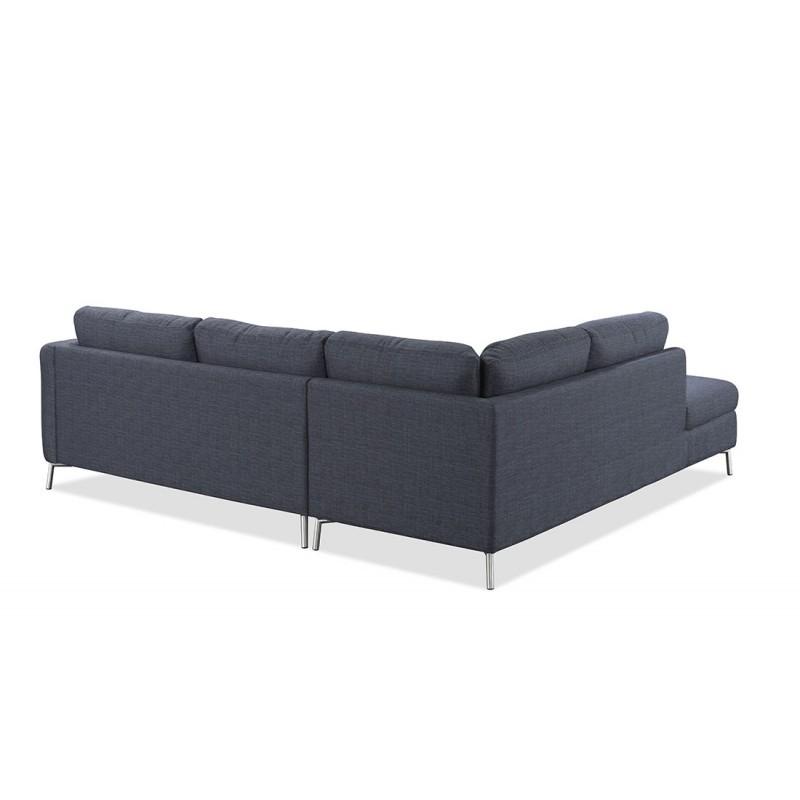 Canapé d'angle côté Gauche design 3 places avec méridienne MORIS en tissu (gris foncé) - image 30236