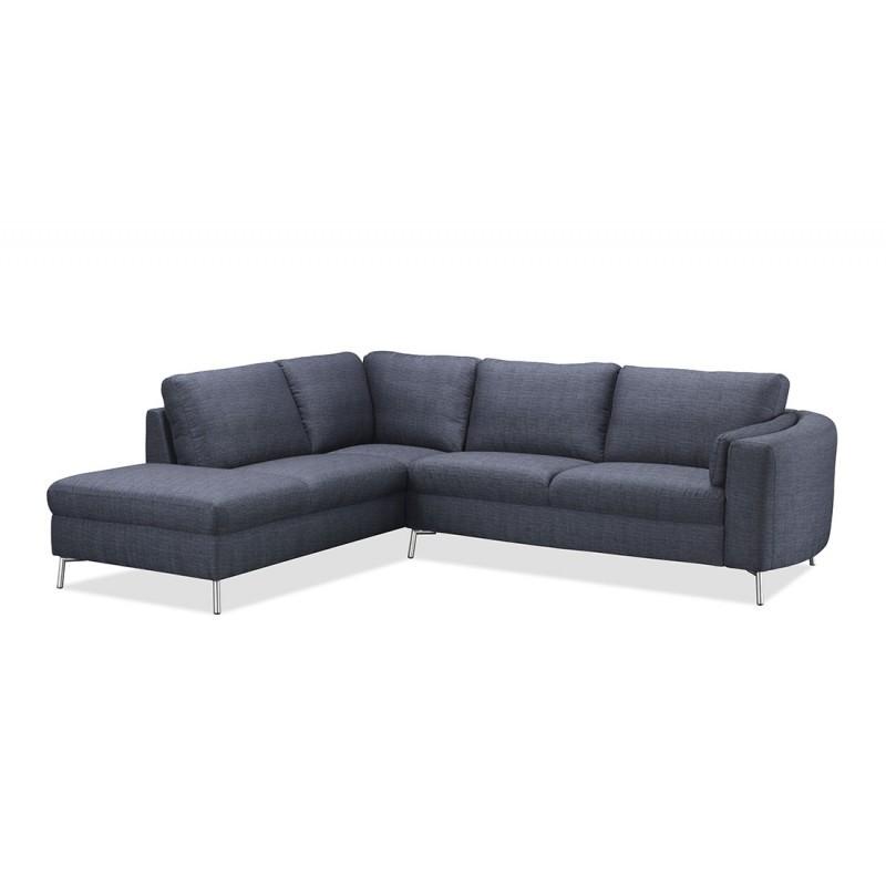 Canapé d'angle côté Gauche design 3 places avec méridienne MORIS en tissu (gris foncé)