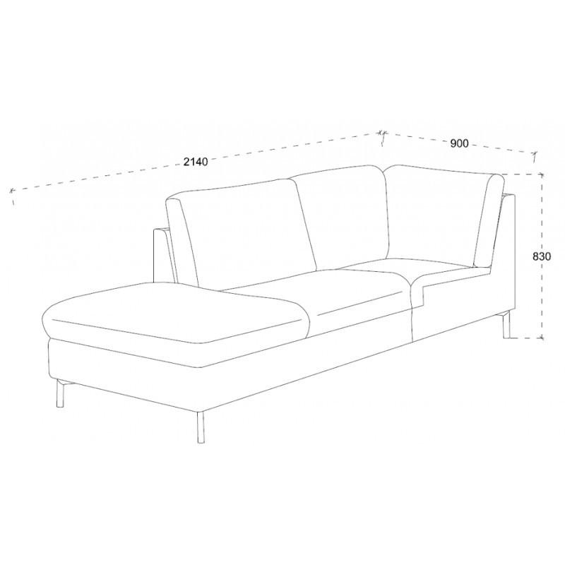 Canapé d'angle côté Gauche design 3 places avec méridienne MORIS en tissu (gris foncé) - image 30239