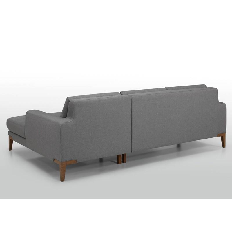 Canapé d'angle côté Droit design 3 places avec méridienne SERGIO en tissu (gris) - image 30243