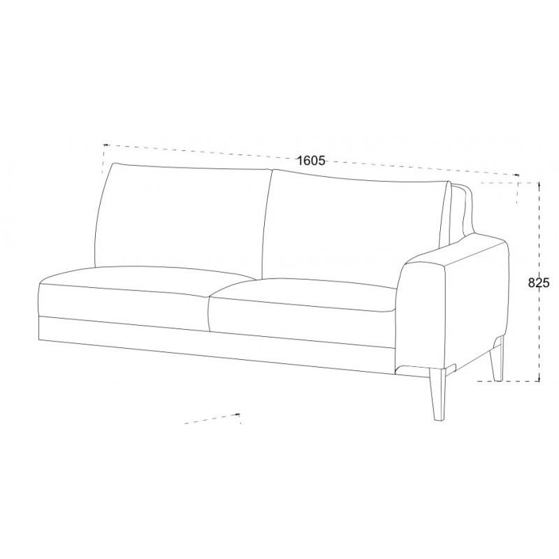 Canapé d'angle côté Gauche design 3 places avec méridienne SERGIO en tissu (gris) - image 30251