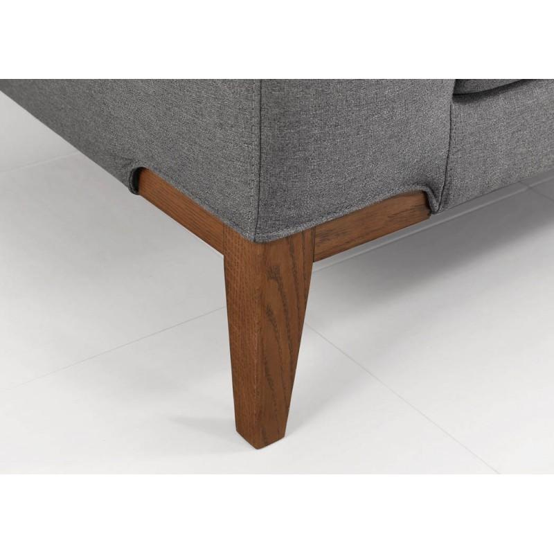 Canapé d'angle côté Gauche design 3 places avec méridienne SERGIO en tissu (gris) - image 30257