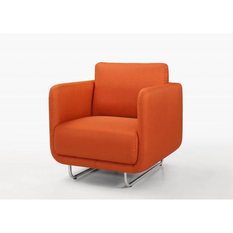 Fauteuil vintage cubique JONAZ en tissu (orange)