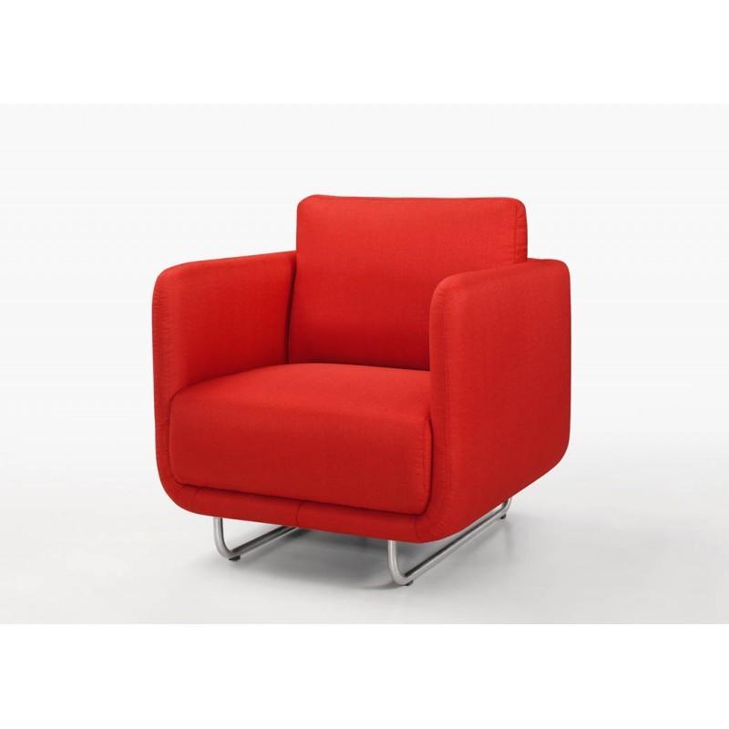 Fauteuil vintage cubique jonaz en tissu rouge - Fauteuil rouge design ...