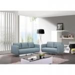 Canapé droit vintage cubique 2 places JONAZ en tissu (bleu clair)