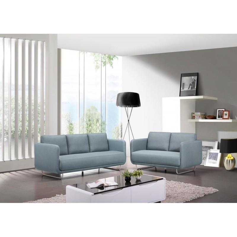 Canapé droit vintage cubique 2 places JONAZ en tissu (bleu clair) - image 30289