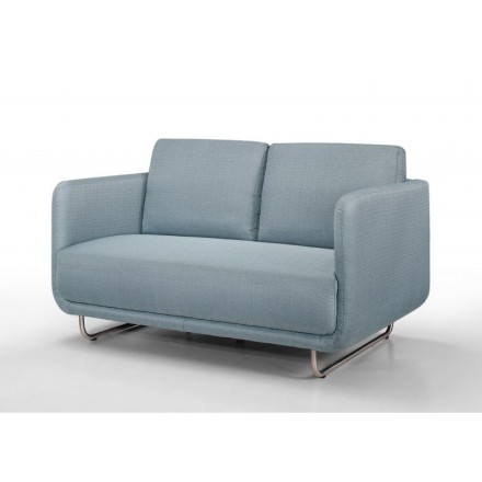 Sofa vintage cubic right 2 places JONAZ in fabric (light blue)