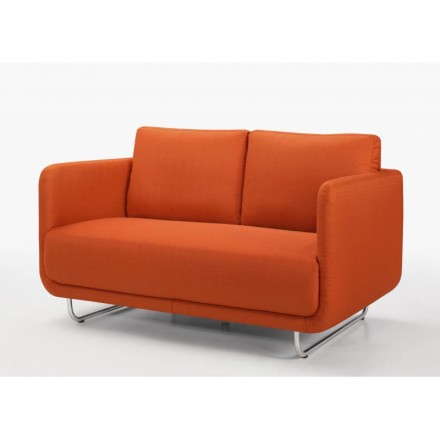 Sofa vintage cubic right 2 places JONAZ in fabric (orange)