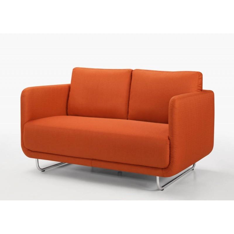 Canapé droit vintage cubique 2 places JONAZ en tissu (orange) - image 30298
