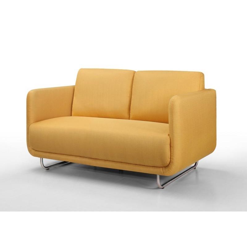 Canapé droit vintage cubique 2 places JONAZ en tissu (jaune) - image 30305