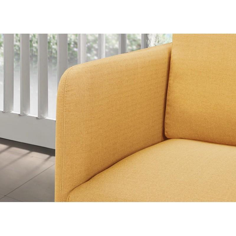 canap droit vintage cubique 2 places jonaz en tissu jaune. Black Bedroom Furniture Sets. Home Design Ideas