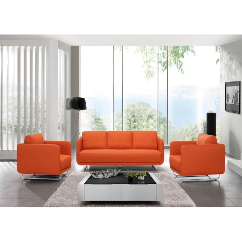 Canapé droit vintage cubique 3 places JONAZ en tissu (orange) - image 30316