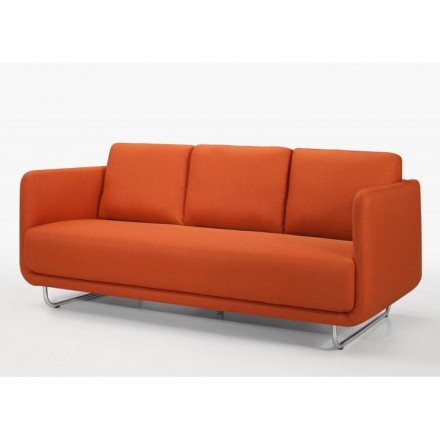 Sofa vintage cubic right 3 places JONAZ in fabric (orange)