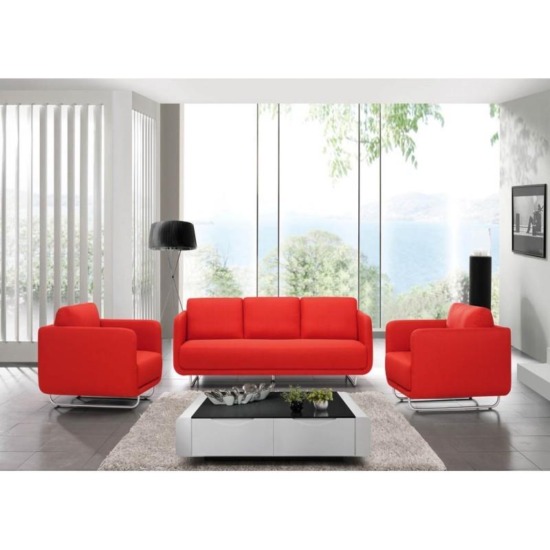 Canapé droit vintage cubique 3 places JONAZ en tissu (rouge) - image 30321