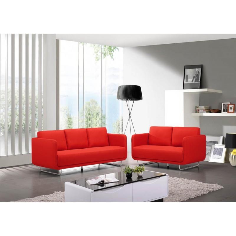 Canap droit vintage cubique 3 places jonaz en tissu rouge - Canape droit 3 places ...