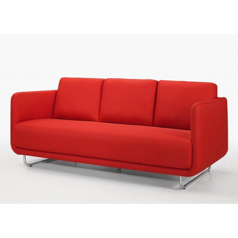 canap droit vintage cubique 3 places jonaz en tissu rouge. Black Bedroom Furniture Sets. Home Design Ideas