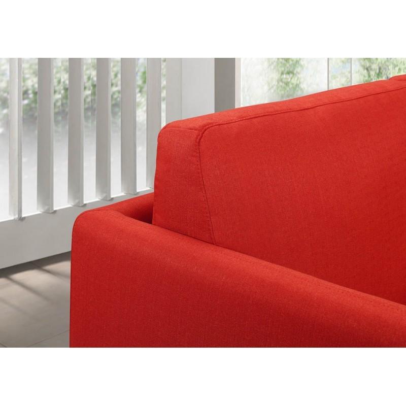 Canapé droit vintage cubique 3 places JONAZ en tissu (rouge) - image 30325
