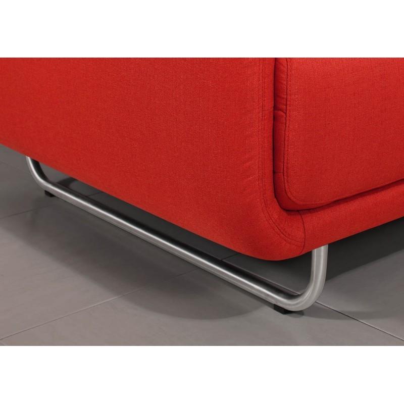 Canapé droit vintage cubique 3 places JONAZ en tissu (rouge) - image 30326