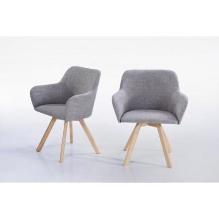 Lot von 2 Stühle skandinavischen Kopenhagen Stoff (hellgrau)