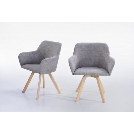 Lot de 2 fauteuils scandinaves COPENHAGUE en tissu (gris clair)