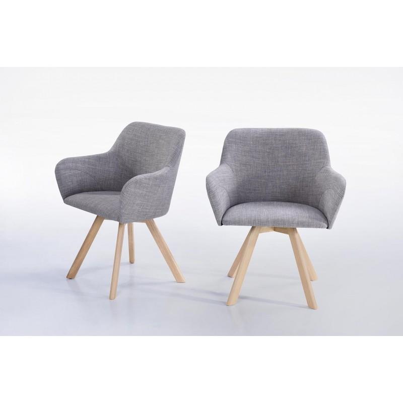 Lot von 2 Stühle skandinavischen Kopenhagen Stoff (hellgrau) - image 30338