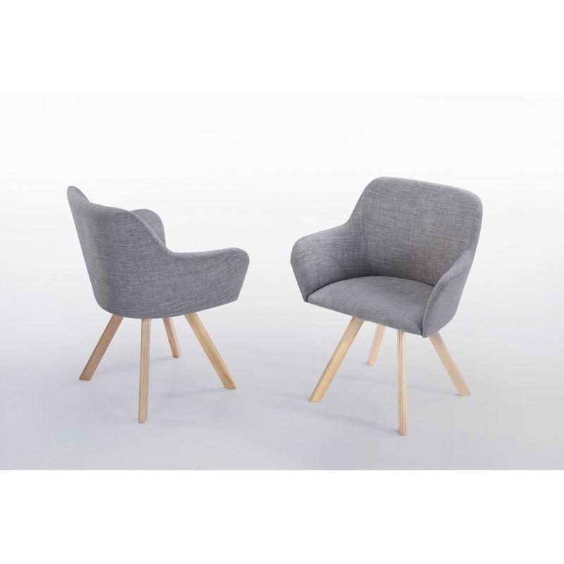 Lot von 2 Stühle skandinavischen Kopenhagen Stoff (hellgrau) - image 30339