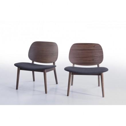 Menge 2 Sessel retro Vintage Stoff und Holz RACHEL (dunkelgrau, Walnuss)