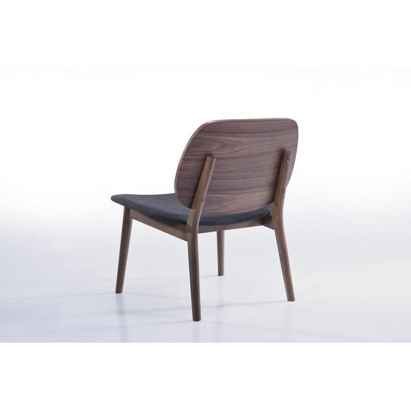 Lot de 2 petits fauteuils rétro vintage RACHEL en tissu et bois (gris foncé, noyer) - image 30351