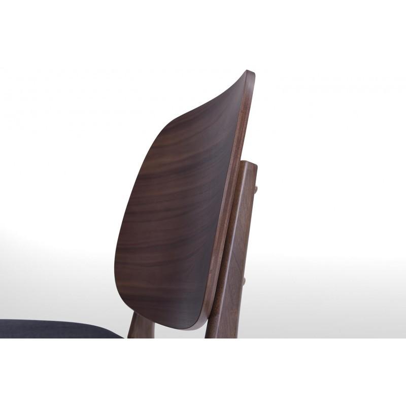 Lot de 2 petits fauteuils rétro vintage RACHEL en tissu et bois (gris foncé, noyer) - image 30354