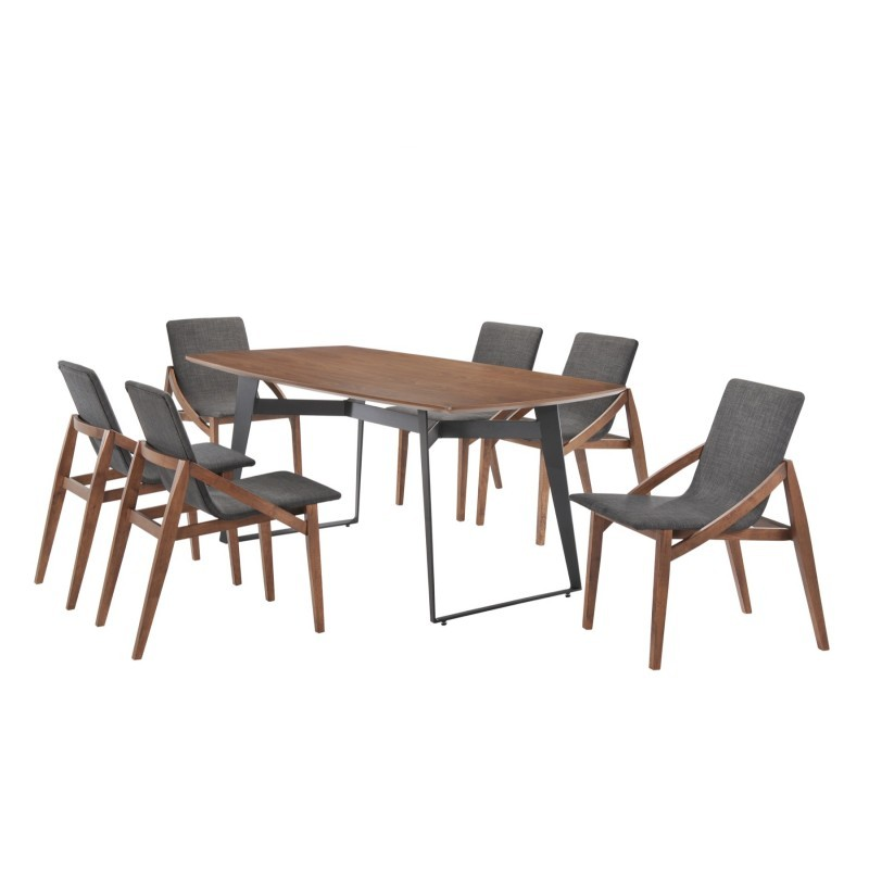 Set of 2 contemporary chairs MARIANNE in fabric and wood (anthracite grey, walnut) - image 30355