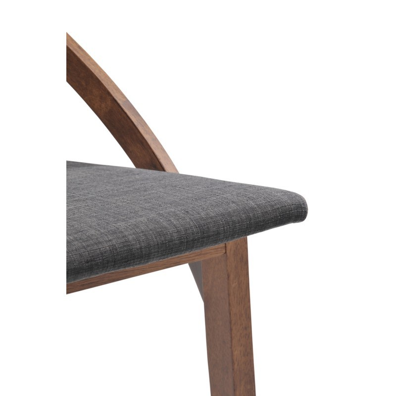 Set of 2 contemporary chairs MARIANNE in fabric and wood (anthracite grey, walnut) - image 30356