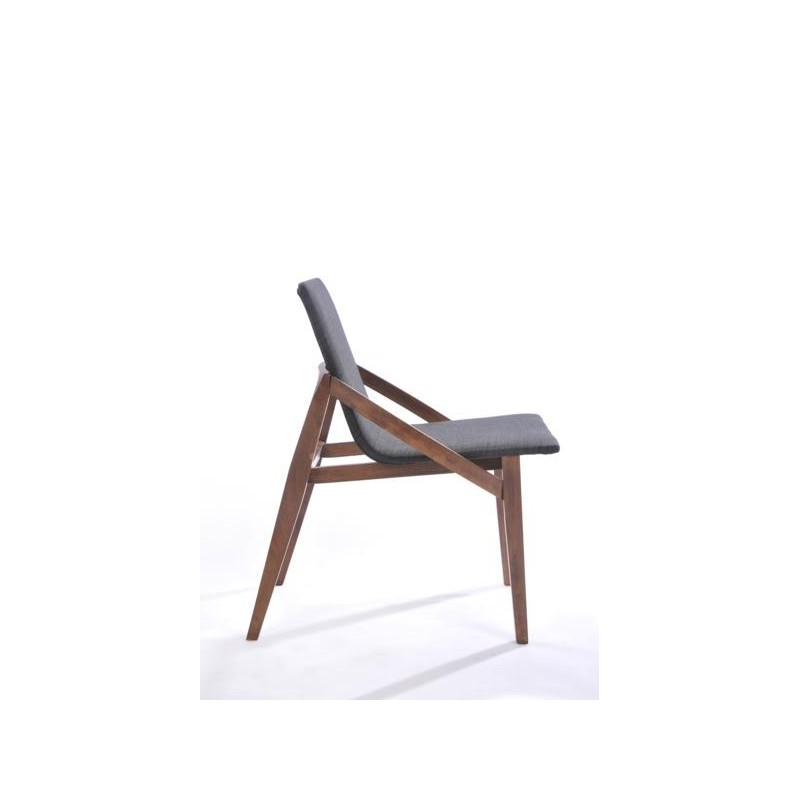 Set of 2 contemporary chairs MARIANNE in fabric and wood (anthracite grey, walnut) - image 30358