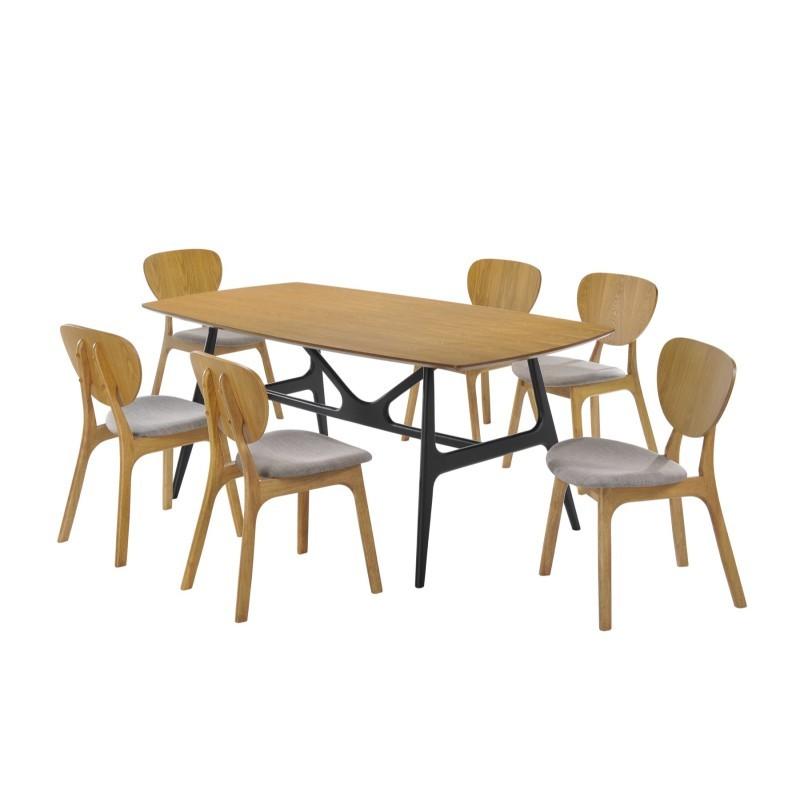 Lot de 2 chaises vintages INES en tissu et bois (gris clair, chêne) - image 30369