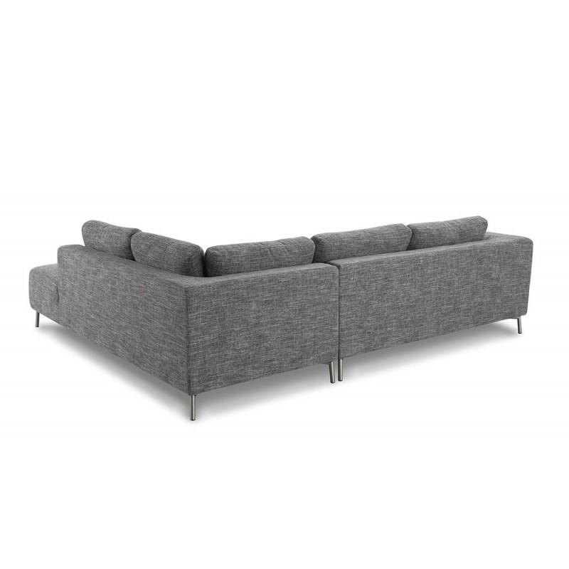 Canapé d'angle côté Droit design 5 places avec méridienne JUSTINE en tissu (gris clair chiné) - image 30380