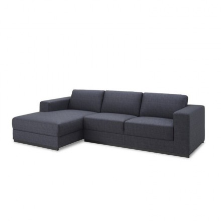 Corner sofa design left 4 side seats with Ma chaise in fabric (dark gray)