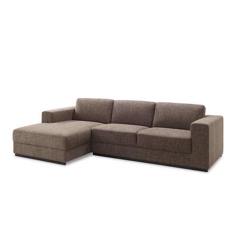 Corner sofa design left 4 side seats with Ma chaise in fabric (Brown) -  Couch d angle