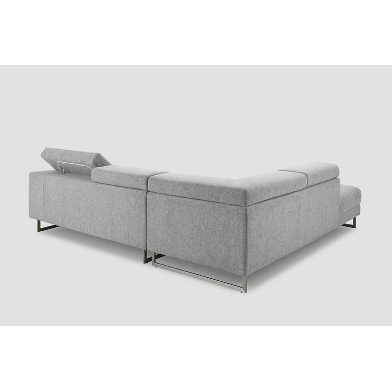 Canapé d'angle côté Gauche design 5 places avec méridienne MATHIS en tissu (gris clair) - image 30403