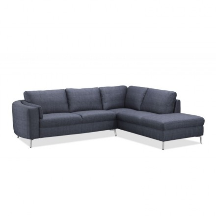 Corner sofa design right side 3-seater with chaise MORIS in fabric (dark gray)