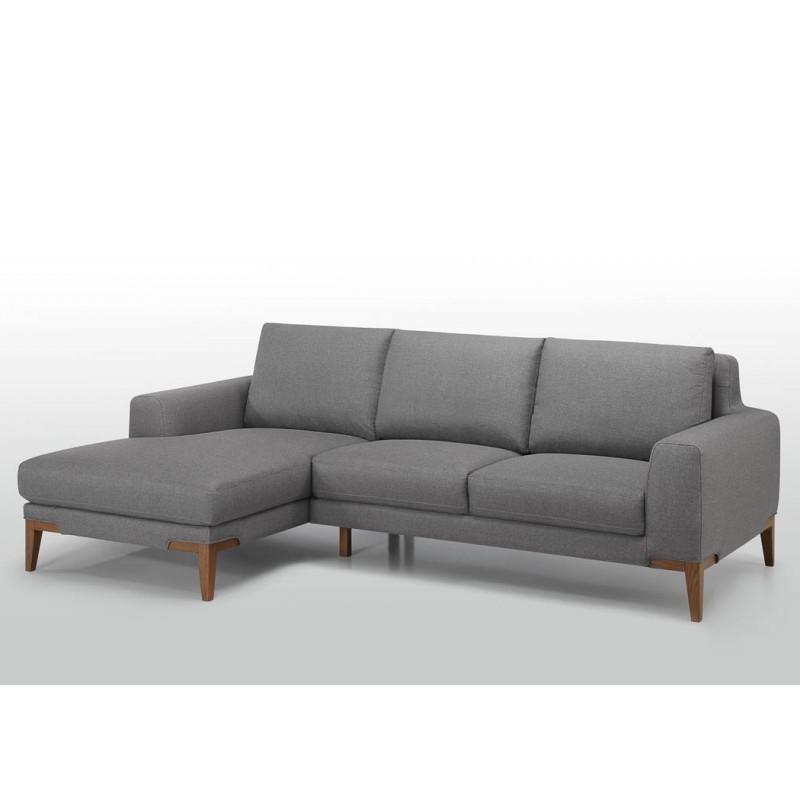 Canapé d'angle côté Gauche design 3 places avec méridienne SERGIO en tissu (gris) - image 30410