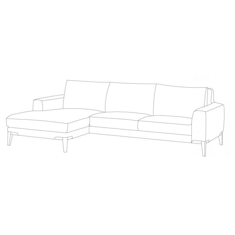 Canapé d'angle côté Gauche design 3 places avec méridienne SERGIO en tissu (gris) - image 30413